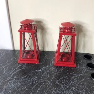 Lighthouse candle holder pair